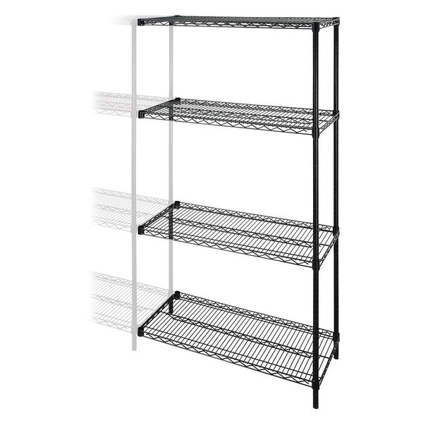 "Product Image: Lorell Add-on Unit - 48"" x 18"" x 72"" - 4 x Shelf(ves) - 4000 lb Load Capacity - Black - Steel"