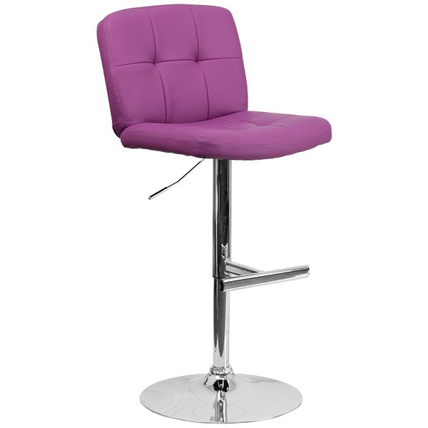 Product Image: Contemporary Tufted Purple Vinyl Adjustable Height Barstool with Chrome Base