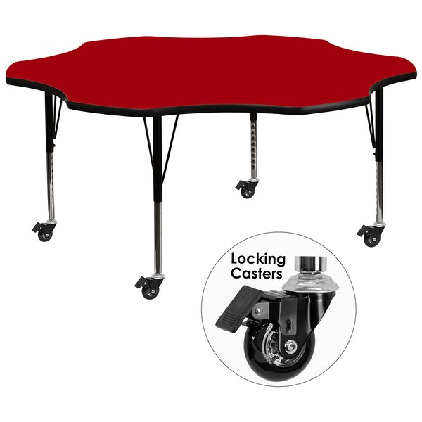 Product Image: Mobile 60'' Flower Shaped Activity Table with Red Thermal Fused Laminate Top and Height Adjustable Preschool Legs