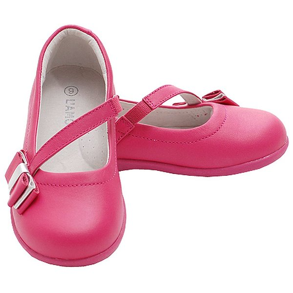 Product Image: Fuchsia Bow Mary Janes Style Elastic Strap Shoes Toddler Girls 10